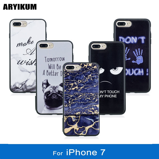 ARYIKUM Cute Animal Dog Case For Coque Iphone 7 I Phone 7 Marble Stone Soft Silicone Case Accessories Cover For Ipone 7 Capinha