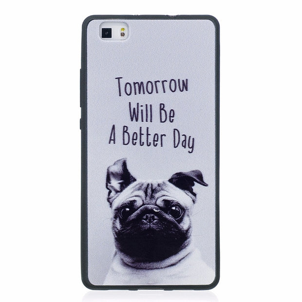ARYIKUM Cute Dog Case For Huawei P8 P 8 Lite P8Lite Ale L21 Ale-l21 Case Silicon Marble Cover For Huawai Huawey Hawei P8 Lite