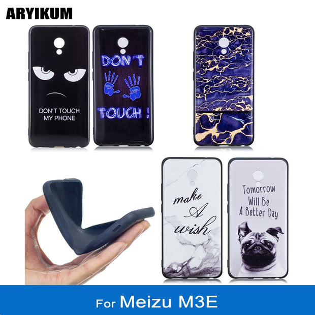 ARYIKUM Cute Phone Cases For Meizu M3E Meizu Meilan E 5.5 Inch Soft Silicone Blue Marble Accessories Cover For Meizu-M3E 32gb