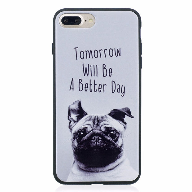 ARYIKUM For Coque Iphone 8 7s Plus 8Plus Case Luxury Marble Silicone Cute Dog Accessories Case Cover For I Phone 8 Plus Capinha