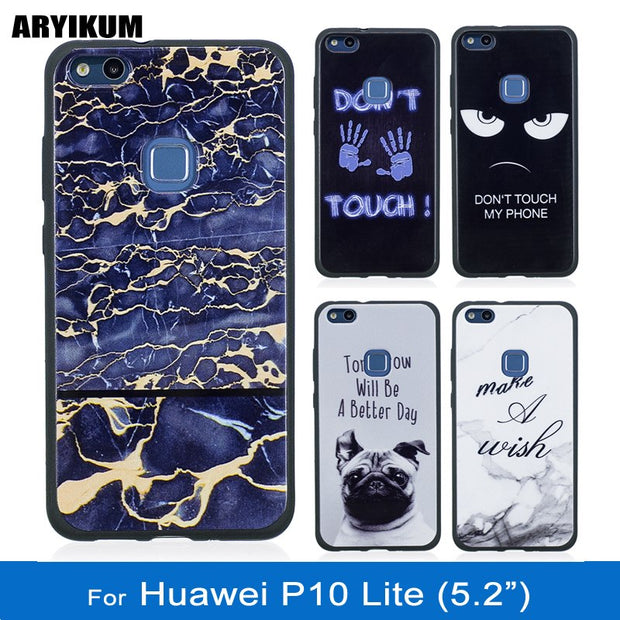 ARYIKUM For Huawei P10 Lite P 10 Lite P10Lite Case Marble Silicone Cover For Hauwei Hawei Huawai P10 Lite Accessories Case Etui