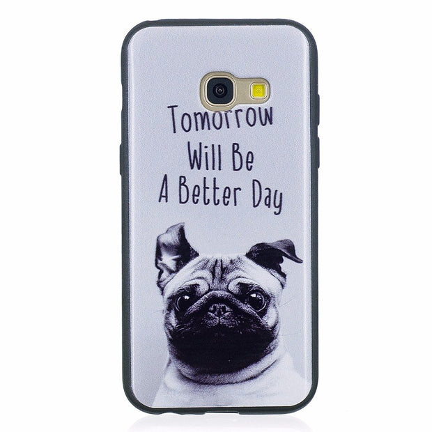 ARYIKUM For Samsung Galaxy A3 2017 A320F Case Black Marble Silicone Animal Dog Phone Case Cover For Samsung A3 A 3 2017 Coque