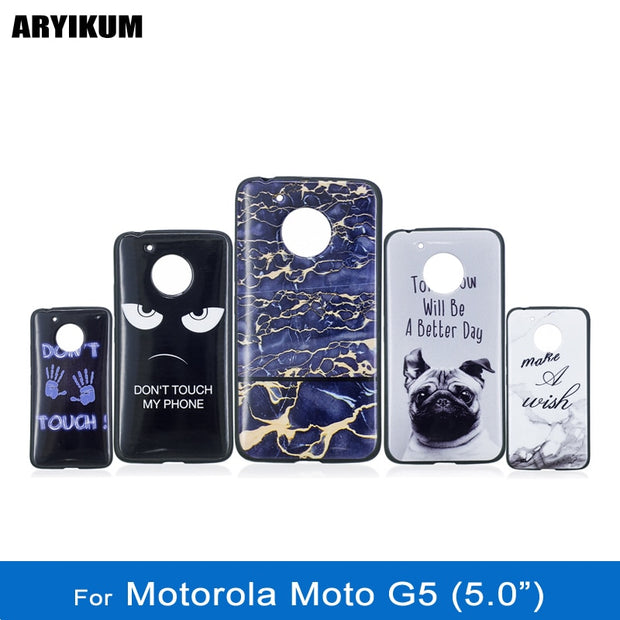ARYIKUM Luxury Marble Case For Motorola Moto G5 G 5 Case Silicone Cute Animal Dog Cover For Lenovo Moto G5 / MotoG5 Capinha Capa
