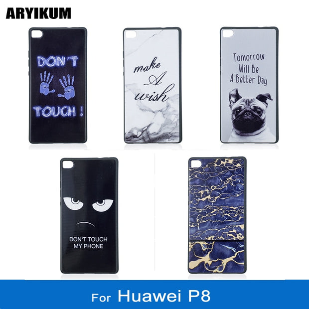 ARYIKUM Marble Stone Cases For Etui Huawei P8 Gra L09 Gra-l09 Gra-ul00 Case Soft Silicone Animal Dog Cover For Huawei P8 Funda