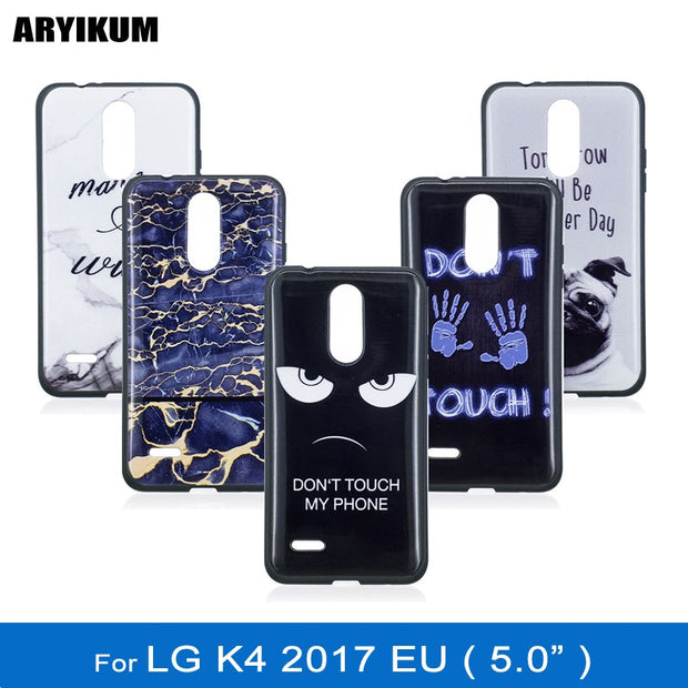"ARYIKUM Mobile Case For Etui LG K4 2017 M160 K 4 2017 5.0"" Marble Silicon Case For LGK4 2017 Phone Protective Back Cover Coque"