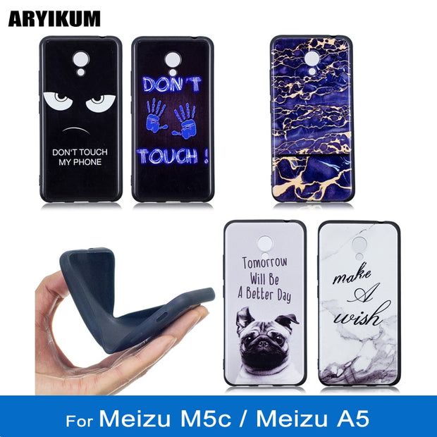 ARYIKUM Mobile Phone Cases For Coque Meizu M5c M710h Blue Marble Case For Meizu A5 Silicone Cover For Meizu M 5c 2gb 16gb 32gb