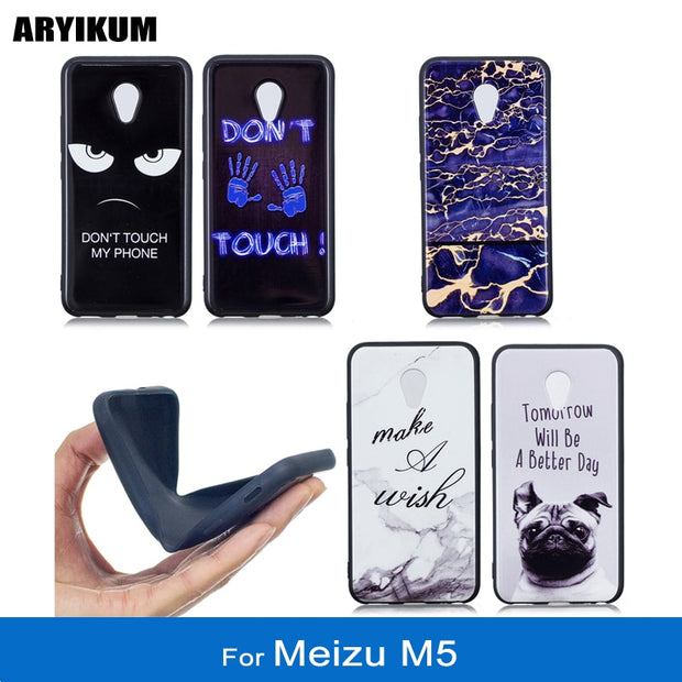 ARYIKUM Phone Cases For Coque Meizu M5 Meilan 5.2 Inch M611h M 611 TPU Silicone Marble Back Cover For Meizu M 5 16gb 32gb Funda