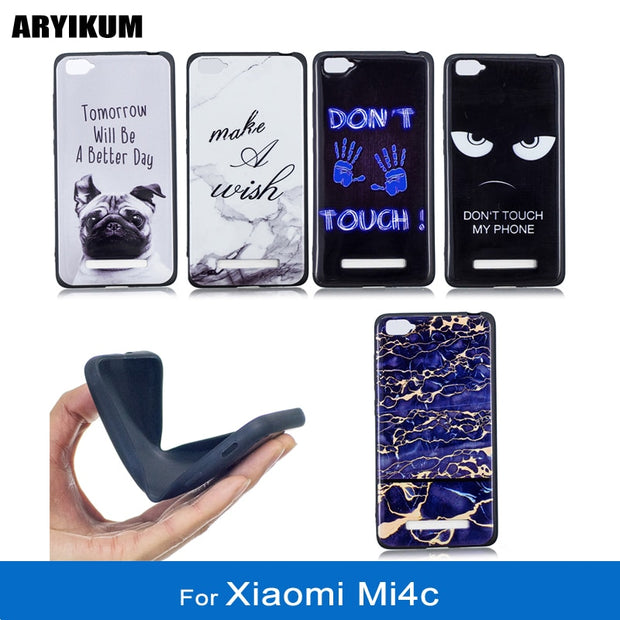 ARYIKUM TPU Slicone Marble Case For Xiaomi Mi4c 16gb 32gb For Xiaomi Mi 4c Telephone Back Case Cover For Xiomi Mi 4c Funda