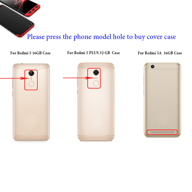 AXBETY For Xiaomi Redmi 5 Plus Case 360 Full Body Hard PC Hybrid Phone Cover Case For Redmi 5a / Redmi 5 Cover Fundas