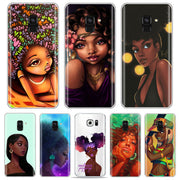 Afros Black Women Hair Art Phone Case For Samsung S7 Edge/s6/S9/s8/s8 Plus A5 A7 Melanin Cover For Samsung A6 2018 Soft TPU Case