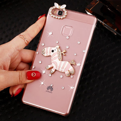 Air Transport Pink Zebra Rhinestone Clear Plastic Case For Huawei P9 Plus P9 Lite P9 Mobile Phone Cases In Stock SMILE CASE