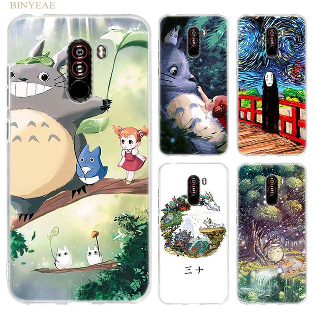 BINYEAE Cute Studio Ghibli Totoro Case Cover For Xiaomi Pocophone F1 6.18 Inch Transparent Silicone TPU Soft