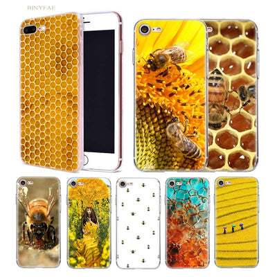 BINYEAE Golden Honeycomb Honey Bee Soft Shell Case Cover For Iphone 5 5SE 5C 6 6S 7 7S 8 Plus X 10 Silicone Transparent