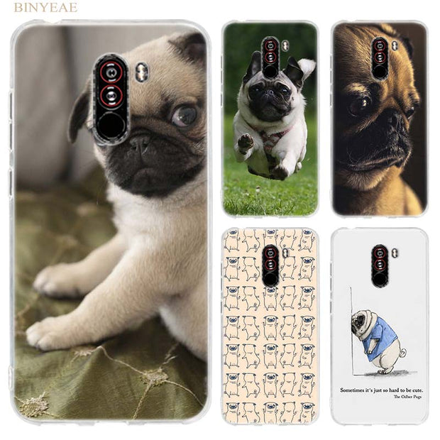 BINYEAE Pugs Not Drugs Dogs Case Cover For Xiaomi Pocophone F1 6.18 Inch Transparent Silicone TPU Soft