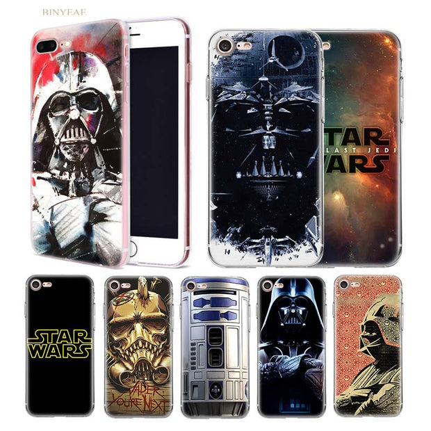 BINYEAE Star Wars R2D2 Transparent Soft Shell TPU Case Cover For Iphone 5  5SE 5C 6 6S 7 7S 8 Plus X 10