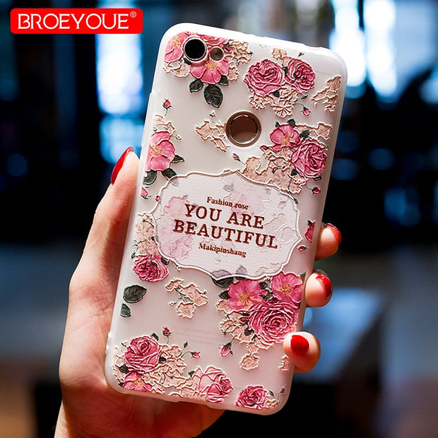 BROEYOUE Case For Xiaomi Redmi 4X 4A Redmi 5A Plus Note 4X Note 5A Case For Xiaomi 5X Mi A1 Mi 5S 6 Redmi 3 3S 3X Relief Cases