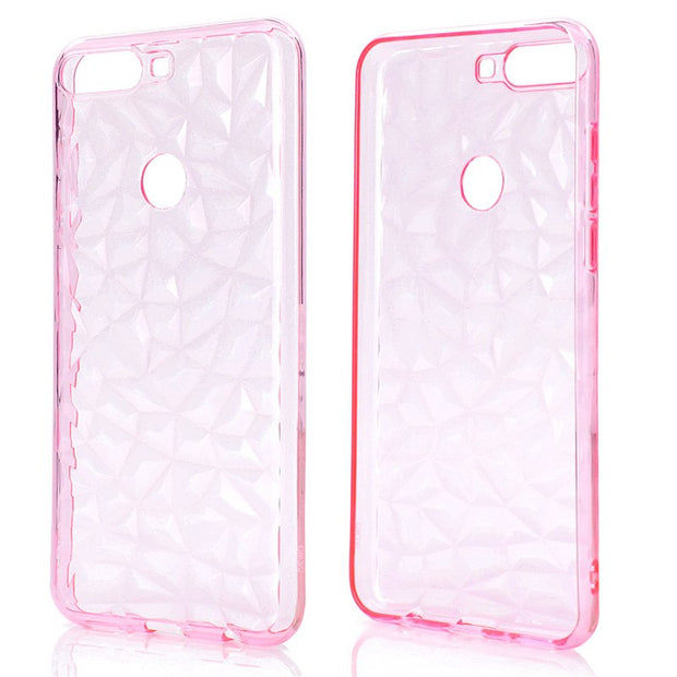 Back Cover For Huawei Enjoy 7C Case Transparent Soft TPU 3D Diamond Pattern Mobile Phone Cases For Huawei Enjoy 7C