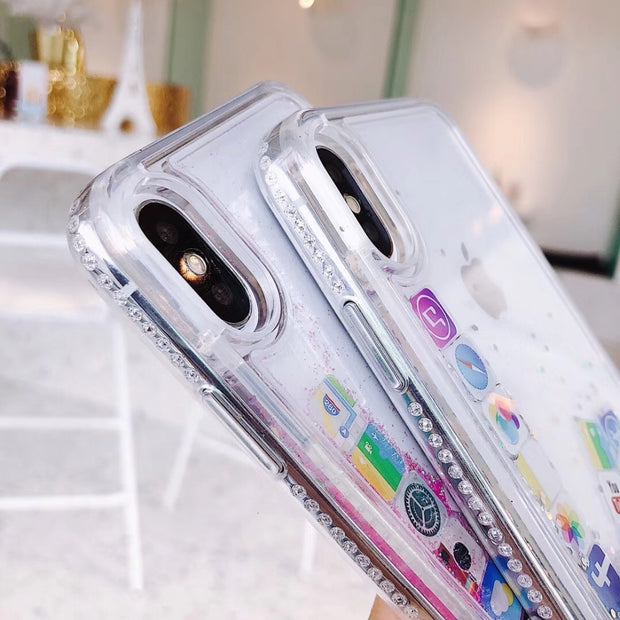 Bling Dynamic Flowing Glitter App Icon Phone Case For IPhone