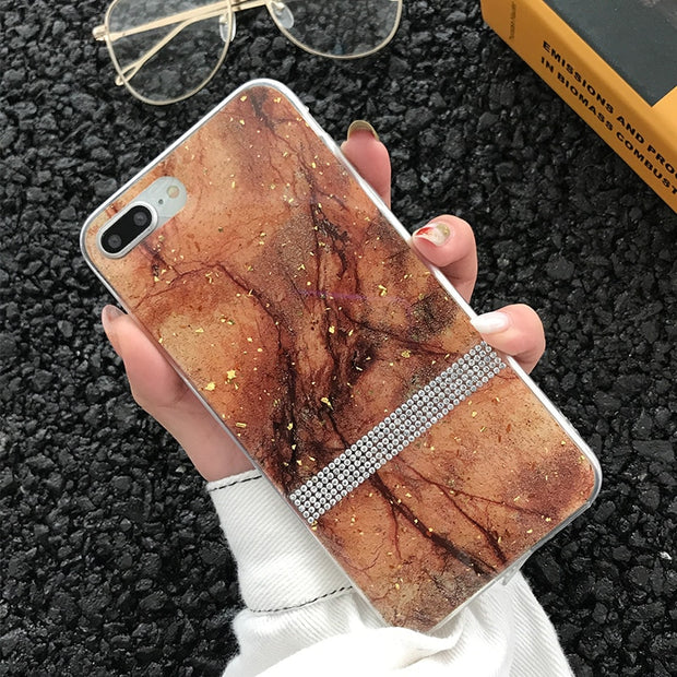 Bling Foil Sequins Granite Marble Texture Phone Cases For IPhone 6 6s 7 8 Plus XS Max XR X 10 Soft TPU Diamond Rhinestone Cover