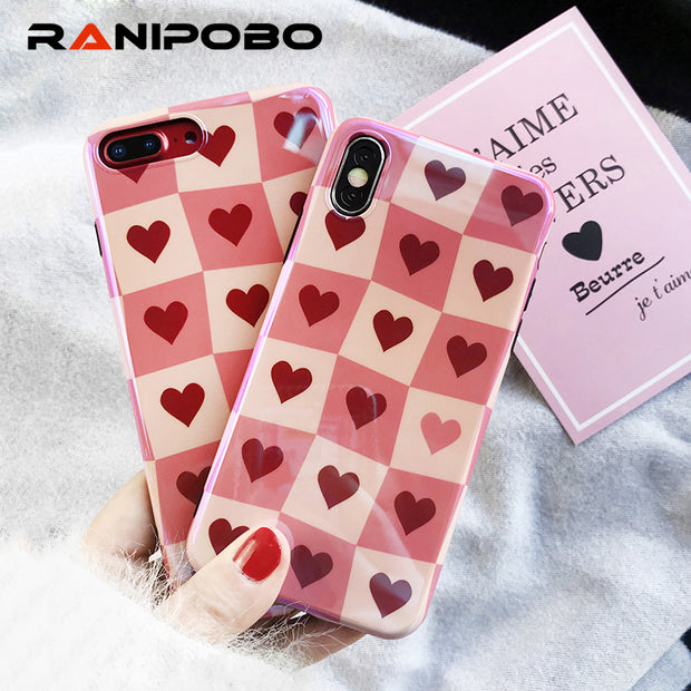 Blu-Ray Laser Lattice Heart Glossy Phone Case For IPhone X 6 6S Plus 7 7Plus 8 8Plus Cool Fashion Smooth Soft IMD Back Cover