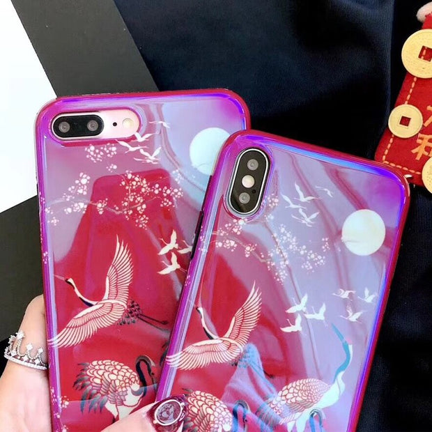 Blu-Ray Red Flamingo Phone Case For IPhone 6 6S 7 8 Plus X Beautiful Flower Soft IMD Phone Back Cover Cases For IPhone 7 Plus