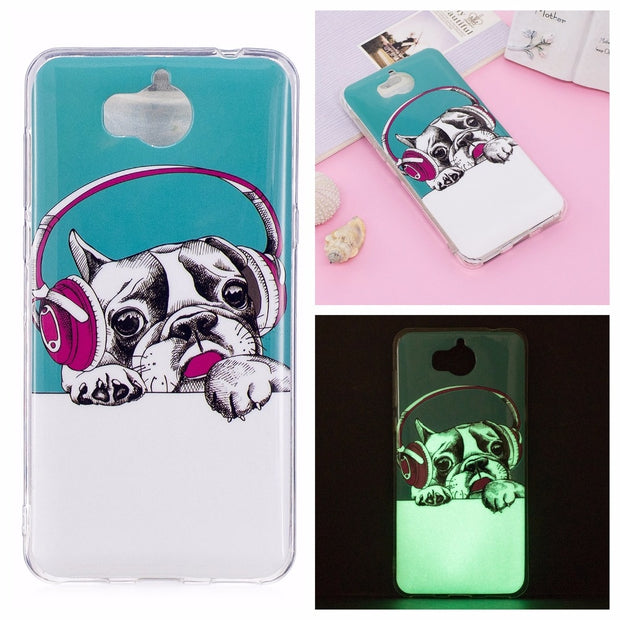 BotexBling 2017 P9lite P8lite Honor 8lite Nova Lite Cute Luminous Soft IMD Case For Huawei Y5 Y6 P9 Lite P10lite Music Dog Gir