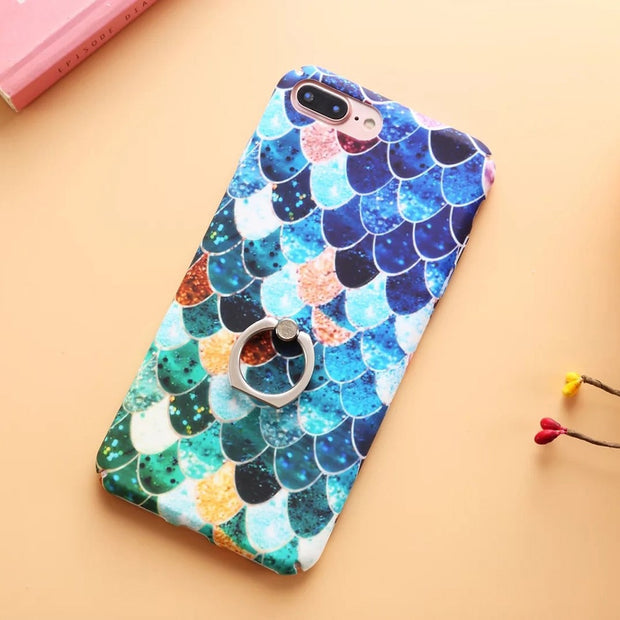 Boucho Ring Grip Mermaid Scales Pattern Case For Iphone X 7 8 Plus 6