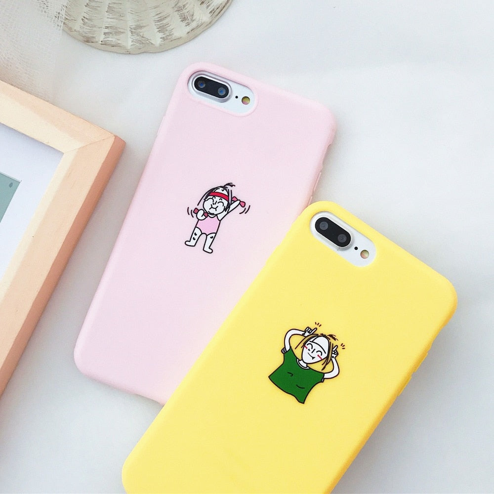 pretty nice 54aaa c9347 Bright Pure Color Soft Case For IPhone 6 6S 7 8 Plus X Case Pure  Yellow&Pink Cartoon Pattren Funda For Iphone 7 Case TPU Cover