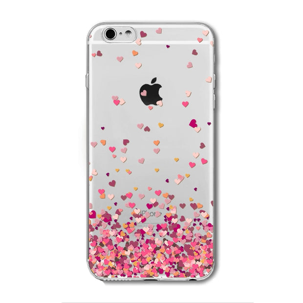 Pink Heart Skull Love Pattern Soft Clear Phone Case Fundas Coque