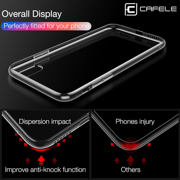 Cafele TPU Phone Case For IPhone Xs XR Xs MAX 8 7 Plus 5 5S SE Crystal Clear TPU Phone Cover Case