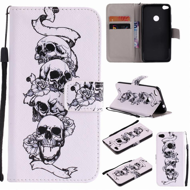 Capa Flip Fundas Leather For Huawei P8 Lite 2017 Mate 9 10 P9 Lite P10 Plus Cases Mobile Phone Bags Colored Painted Holster P06Z