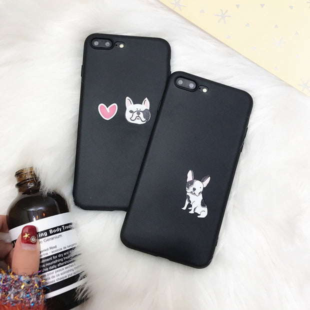 Cartoon Lovers Phone Case For Iphone X Case For Iphone 6S 6 7 8 Plus Back Cover Fashion Cute Animal Dogs Cases Capa