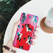 Cartoon Red Bulldog Phone Case For Huawei P20 All-inclusive Shatter-resistant Back Cover For Huawei P20 Pro Shell Coque Case