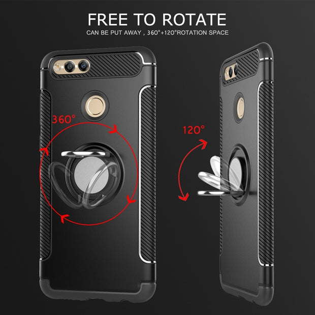 Case For Honor 7X Case Fundas Silicone Hard PC Magnetic Ring Armor Smartphone Coque Cover Case For Huawei Honor 7X Honor7X 5.93