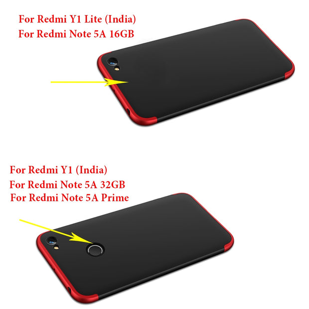 Case For Xiaomi Redmi Note 5A Case Fashion 360 Full Hybrid Hard Plastic PC Protect Cover For Redmi 5a/Redmi Y1 Lite Prime Cover