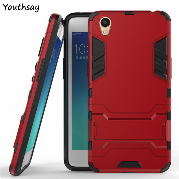 Case Oppo A37 Case A37M Luxury Robot Phone Stand PC + TPU Cases For Oppo A37 Cover For Fundas Oppo Neo 9 Coque 5.0 Inch