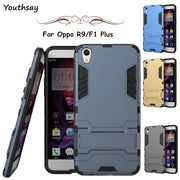Case Oppo R9 Case Luxury Silicone Robot Phone Stand PC + TPU Case For Oppo R9 Cover For Fundas Oppo F1 Plus 5.5 Inch