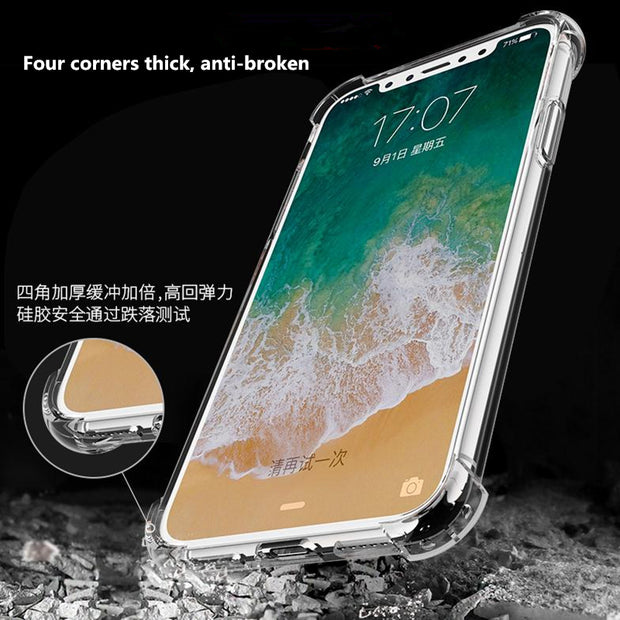 Case+Screen Protector Ultra Thin Soft TPU Transparent Phone Case For IPhone X 7 8 6S Plus Back Cover Protective Shell