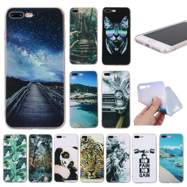 Case For IPhone 8 7 Back Cover For Coque Apple IPhone 7 8 Plus Silicon TPU Etui Phone Case Kitty Tower Scenery Capinha Hoesje
