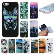 Case For IPhone SE Back Cover For Coque IPhone 5s Silicon TPU Phone Case For Apple IPhone 5 Soft Landscape Kitty Tower Capinhas