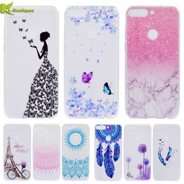 "Case On For Huawei Honor 7C AUM-L41 Cover Etui Cute Butterfly Soft Silicone Phone Cases For Huawei Honor 7C 5.7"" Russian Version"
