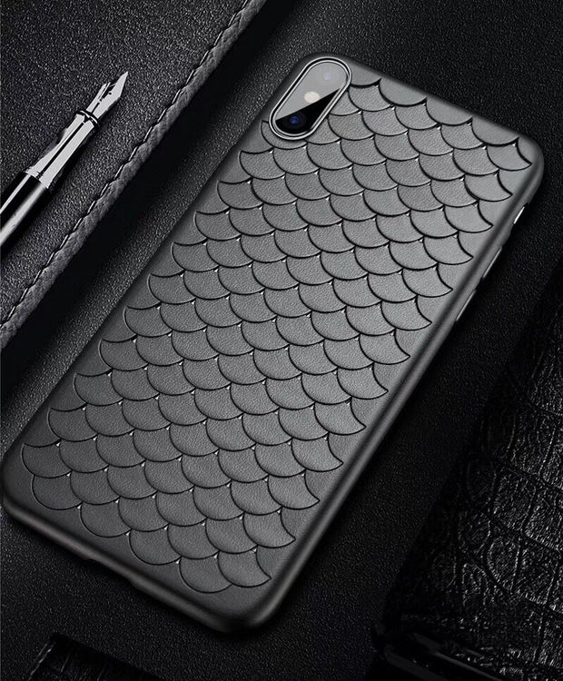 Classic Solid Color Phone Case For Iphone X Case For Iphone 6 6S 7 8 Plus Fashion Soft TPU Cover Funny Scale Pattern Cases Capa