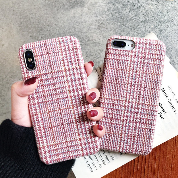 Cloth Grid Simple Phone Case For Iphone 6 6s 7 8 Plus Case Hard PC Fabric Textile Case For Iphone X XS Max XR Back Cover Dropshi