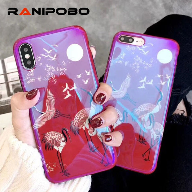 Cool Blu-Ray Red Flamingo Glossy Phone Case For IPhone X 6 6S Plus 7 7Plus 8 8Plus Beautiful Flower Soft IMD Back Cover