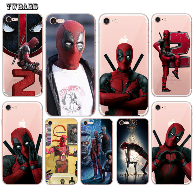 Cool Deadpool 2 Phone Case For Fundas Iphone 6 Cute Patten Shell For 8 8plus X 7plus 5s Soft Silicon Case For Coque Iphone 6s