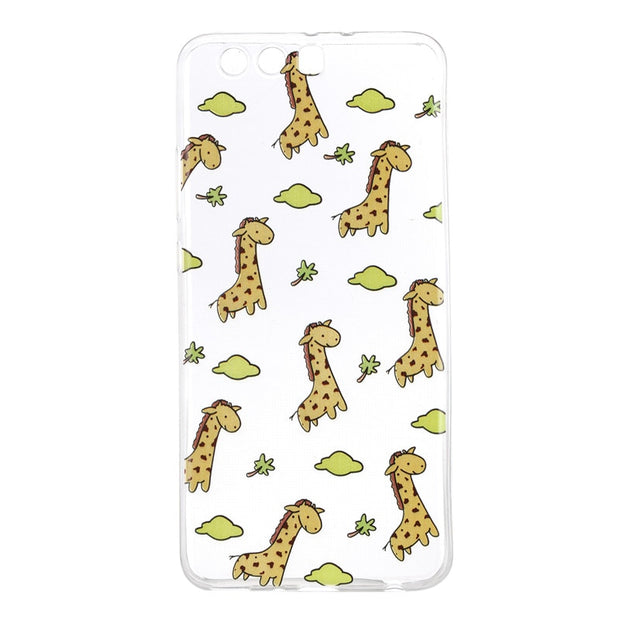 Cover For Capas Huawei P10 Plus Case Ultrathin Soft TPU Transparent Painting Relief Small Watermelon Giraffe Pizza Green Lemon