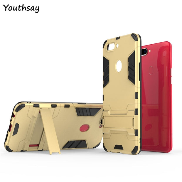 Cover Oppo R11s Case 6.01 Inch Luxury Robot Phone Stand PC + TPU Case For Oppo R11s Case For OppoR11s Kickstand Fundas