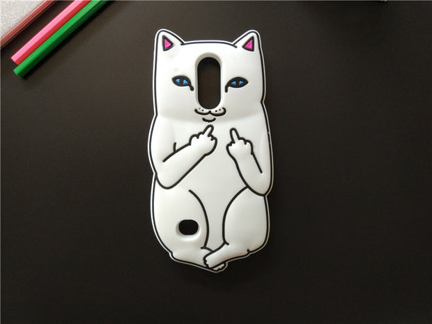 Cute Cartoon 3D Middle Finger Cat Phone Case For LG K8 2017 Case For LG K8 2017 / LV3 Soft Silicone Rubber Cover Coque Fundas