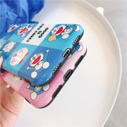 Cute Cartoon Doraemon Phone Case For IPhone X 6 6 Puls 6S 7 8 Puls Cases IMD Soft Silicone Pink Blue Grid Back Cover Coque Capa