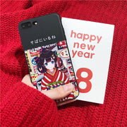 Cute Cartoon Japanese Kimono Girl Phone Case For Iphone X For Iphone 6 6s 5 7 8 Plus Cover Soft Back Cases Fashion Illustration